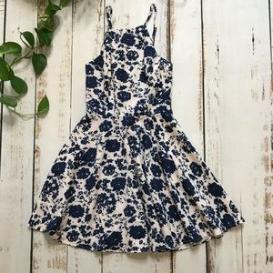 Lulu's White and Navy Floral Print Dress